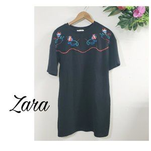 Zara vintage style black dress embroidered small.